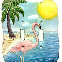 Flamingo Design Switch Plate Cover- Hand Painted Metal Tropical Decor - Flamingo Ligh Switch Cover - Switchplate Covers - S-1042-2