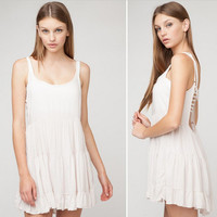 """""""Urban Outfitters"""" Fashion Solid Color Backless Sleeveless Strap Mini Dress"""