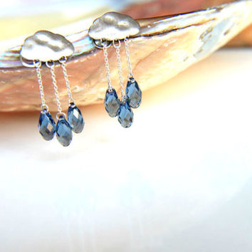 Earrings rhodium plated chains with gray blue swarovski crystal raindrops and rhodium plated clouds wedding, valentine's, mother's day.