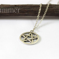 Antique Silver Pentacle Necklace,Pentagram wicca pagan, five-pointed star pendant necklace