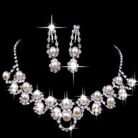 Wedding Bridal Party Chic Crystal Rhinestone Pearl Plated Necklace Earrings sets