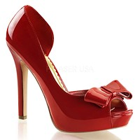 Lumina 32 Asymmetrical Cut Pump With Bow Red Patent