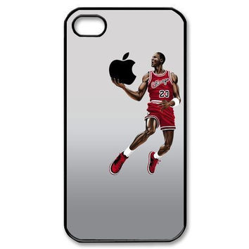 Michael Jordan dunking apple logo Case Cover For iPhone 4 4S 5 5S 5C 6 6s 6PLUS 6s plus CELEBS