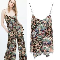 Stylish Print Chiffon Spaghetti Strap Tops Women's Fashion Strap [6047485185]