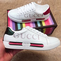 GUCCI Fashion Women Men Casual Leather Alphabet Stripe Print Sport Sneaker Shoes