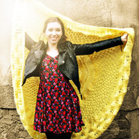 Hand Knitted Blanket - Yellow Circular Blanket - Large Shawl Blanket - Yellow Knitted Throw - Festival Blanket