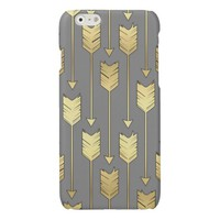 Gray and Faux Gold Arrows Pattern Glossy iPhone 6 Case