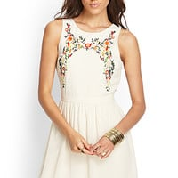 FOREVER 21 Embroidered Floral A-Line Dress Cream/Green