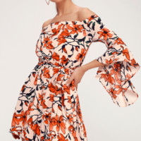 Blushing Blooms Nude Floral Print Off-the-Shoulder Dress
