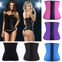 Hot Selling Latex Waist Training Corsets Sexy Lingerie Sport Girdle Steel Boned Corselet Bustiers Corpetes Size S--2XL = 1929563140