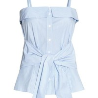 Cotton top - Light blue/Striped - Ladies | H&M GB
