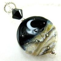 Necklace Lampwork Crescent Moon Black White Ivory Sterling Silver