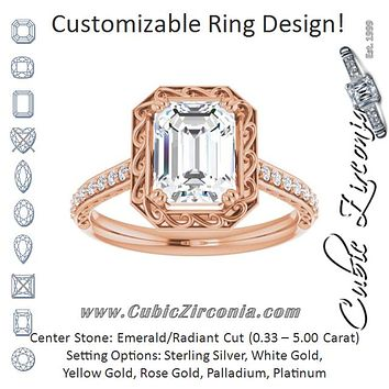 Cubic Zirconia Engagement Ring- The Montserrat  (Customizable Radiant Cut Halo Design with Filigree and Accented Band)