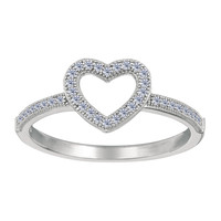 Sterling Silver With Rhodium Finish Open Heart With White Cubic Zirconia Ring