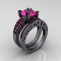 Modern Vintage 14K Gray Gold 3.0 Carat Pink Sapphire Solitaire and Wedding Ring Bridal Set R102S-14KGGPS