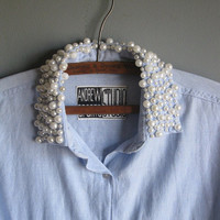 80s chambray shirt / pearl encrusted collar and pockets / m ml