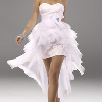 High Low Strapless Prom Dress by Flirt P6743