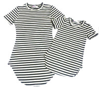 Family Matching Striped Dress Mother and Daughter Casual Summer Dress mommy me matching set outfits