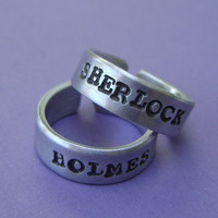 Sherlock Holmes Inspired  Set of Hand Stamped Rings by MetalsHeart