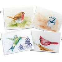 Watercolor Bird Greeting Cards - Set of 5 - 5 x 7 - Mix and Match - Watercolor painting