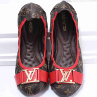 LV  Big logo Green Red Stripe Print Flat Shoes Canvas Women Sandals Shoes