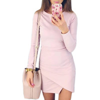 Sexy Irregular Casual Dresses 2017 Spring Summer Bodycon Dress Women's Solid Long Sleeve Sexy Mini Bandage Women's Dresses GV471
