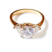 Solitaire Glass Crystal Ring Size 9 Vintage Costume Jewelry CZ