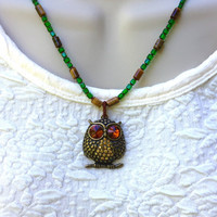 Owl Necklace, Green & Brown Beaded Owl Necklace, Owl Pendant Necklace