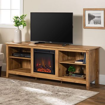"""Walker Edison Furniture Company Minimal Farmhouse Wood Fireplace Universal Stand for TV's up to 80"""" Flat Screen Living Room Storage Shelves Entertainment Center, 70 Inch, Barnwood 70 Inch Fireplace TV Stand"""