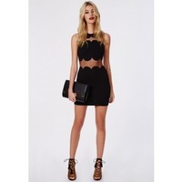 Missguided - Sandy Scallop Shift Dress Black
