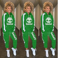 Timerland Fashion Women Leisure Round Collar Logo Print Pullover Sweater Pants Trousers Set Two-Piece