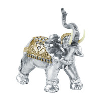 Polyresin Standing Trumpeting Elephant Figurine with Gold Engraved Design and Embedded Diamond Mirror Brushed Finish Silver