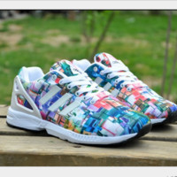 ADIDAS Men and women type air running shoes casual shoes non-skid rainbow lovers sneakers Blue-white