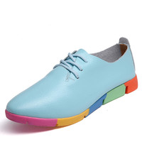 Women oxford shoes ballerina Flats genuine leather pointed toe Lace up