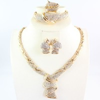African Beads Jewelry set Women Gold Color Crystal Wedding Party Necklace Bangle Earring Ring Fine Jewelry Set