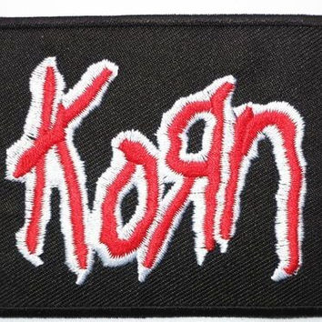"""KORN Red Logo Iron On Sew On Embroidered Patch 2.9""""/7.5cm"""