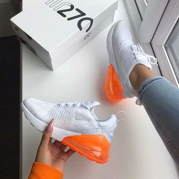 Nike Air Max 270 Trending Women Men Personality Air Cushion Sport Running Shoe Sneakers White Orange I