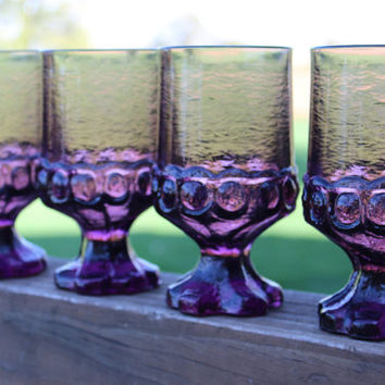 4 vintage Franciscan Crystal Madeira TIFFIN Plum footed water goblets - vintage purple glass water goblets  -retro purple Tiffin Madeira
