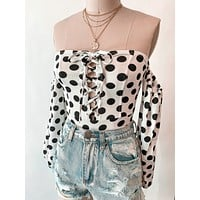 Mika Polka Dot Lace Up Bodysuit