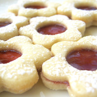 Raspberry Linzer Cookies Jam Filled Flower Sugar Cookie