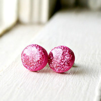 barbie pink sparkle stud earrings