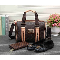 LV Women Shopping Leather Tote Handbag Shoulder Bag Purse Wallet Single shoe Set Three-Piece G-KSPJ-BBDL