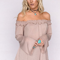 Off The Shoulder Bell Sleeve Top In Taupe