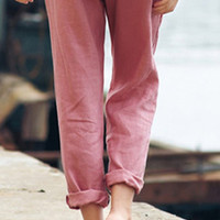 Loose Fit Linen Cropped Cuffed Women Drawstring Pants