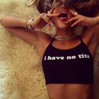 New Black Halter Neck Letter Print Crop Top