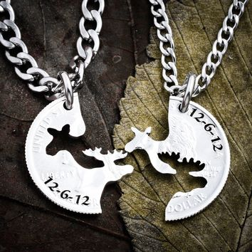 Moose Couple Necklace, Date and Names Engraved