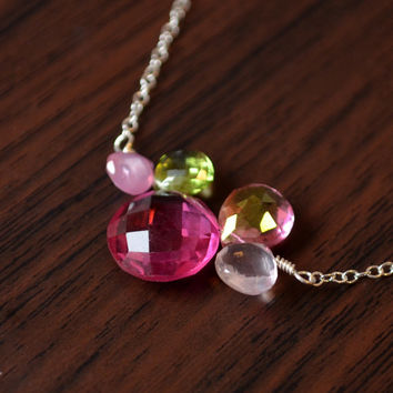 NEW Green and Pink Gemstone Necklace, Fuchsia Quartz, Lime Green Peridot, Pink Topaz, Rose Quartz, Sterling Silver Jewelry, Free Shipping