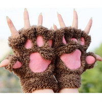 Woman Winter Fluffy Bear/Cat Plush Paw/Claw Glove-Novelty soft toweling lady's half covered gloves mittens christmas gift #makeg coltd#