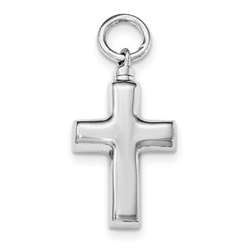 Sterling Silver Rhodium-plated Polished Cross Ash Holder Pendant QC8399