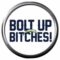 Bolt Up Bitches Chargers NFL Football Logo 18MM - 20MM Snap Jewelry Charm New Item
